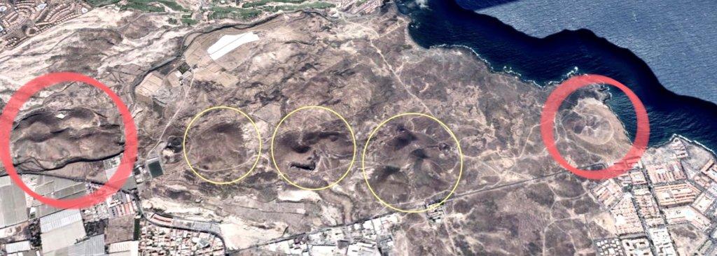 Conos volcánicos en el sur de Tenerife